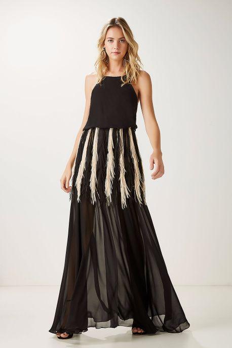 Vestido Seda Pala Franja Preto - 36