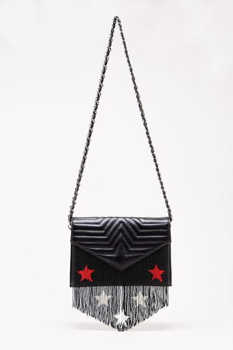 Bolsa Leather Star Franjas Preto - U