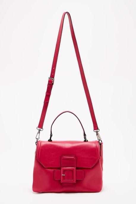 - Bolsa Média Leather Buckle Rosa - U