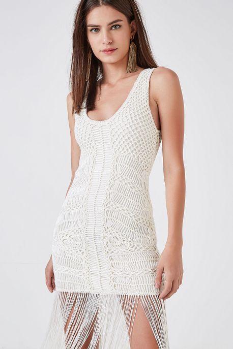 Vestido Tr Macrame Franja Off White